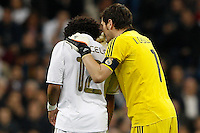 08.04.2012 SPAIN -  La Liga matchday 32th  match played between Real Madrid CF vs Valencia (0-0) and falls to 4 points behind Barcelona, at Santiago Bernabeu stadium. The picture show  Marcelo Vieira (Brazilian defender of Real Madrid) and  Iker Casillas (spanish goalkeeper of Real Madrid)