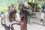 Batwa Pygmies Re-enacting Hunting