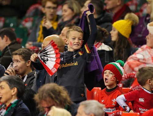 11th November 2017, Principality Stadium, Cardiff, Wales; Autumn International Series, Wales versus Australia; A young Wales fan enjoys the atmosphere