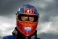 Oct. 31, 2008; Las Vegas, NV, USA: NHRA top fuel dragster driver Morgan Lucas during qualifying for the Las Vegas Nationals at The Strip in Las Vegas. Mandatory Credit: Mark J. Rebilas-