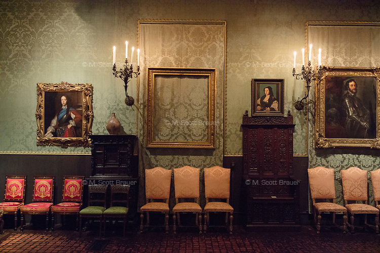 "An empty frame hangs on the wall where Rembrandt's ""A Lady and Gentleman in Black"" once hung in the Isabella Stewart Gardner Museum's ""Dutch Room,"" in Boston, Mass., USA, seen here on Tues., Dec. 5, 2017. The painting was stolen during a 1990 theft of 13 objects from the museum: 10 paintings, 2 objects, and 1 etching."