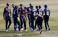 Imran Qayyum (11) celebrates with Kent teammates after taking the wicket of Dan Lawrence during Kent Spitfires vs Essex Eagles, Vitality Blast T20 Cricket at The Spitfire Ground on 18th September 2020