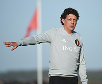 20180417 - TUBIZE , BELGIUM : Belgian assistant coach Gaetan Englebert pictured during the friendly  soccer match between  under 15 teams of  Belgium and Switzerland , in Tubize , Belgium . Tuesday 17 th April 2018 . PHOTO SPORTPIX.BE / DIRK VUYLSTEKE