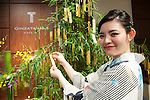 A member of staff wearing traditional Japanese kimono poses for a picture next to a bamboo tree decorated with gold and platinum paper strips (Tanzaku) at Ginza Tanaka jewelry shop in Ginza district of Tokyo on July 3, 2015. It is Japanese custom to write a wish on a paper strip and hang this on a tree to celebrate the annual festival of Tanabata. After the festival the store will offer the gold and platinum strips to the Akasaka's Hie-jinja shrine. (Photo by Rodrigo Reyes Marin/AFLO)