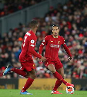 24th February 2020; Anfield, Liverpool, Merseyside, England; English Premier League Football, Liverpool versus West Ham United; Virgil van Dijk of Liverpool looks up before passing the ball