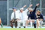 30 September 2012: UNC's coaches help the referee make a call. From left: head coach Anson Dorrance, and assistants Bill Palladino, Cindy Parlow Cone, Brittani Bartok. The University of North Carolina Tar Heels defeated the University of Miami Hurricanes 6-1 at Fetzer Field in Chapel Hill, North Carolina in a 2012 NCAA Division I Women's Soccer game.
