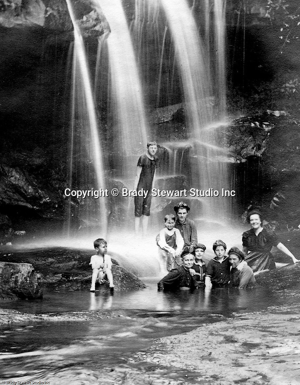 Stewart Township PA:  View of the Stewart and Brady family having fun at the Bear Run Creek in 1905.  Alice Brady Stewart's brother lived in the area.