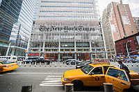 The offices of the the New York Times media empire in Midtown in New York on Wednesday, July 30, 2014. The company reported that lower advertising revenue negated a gain in digital subscriptions resulting in a drop in second-quarter profits. Print advertising dropped 6. 6 percent while digital revenue was only up 3.4 percent. (© Richard B. Levine)