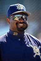 Greg Vaughn of the Milwaukee Brewers at Dodger Stadium in Los Angeles,California during the 1996 season. (Larry Goren/Four Seam Images)