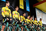 Team Jumbo-Visma on stage at the team presentation before Stage 1 of the Criterium du Dauphine 2019, running 142km from Aurillac to Jussac, France. 9th June 2019<br /> Picture: ASO/Alex Broadway | Cyclefile<br /> All photos usage must carry mandatory copyright credit (© Cyclefile | ASO/Alex Broadway)