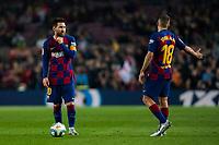 29th October 2019; Camp Nou, Barcelona, Catalonia, Spain; La Liga Football, Barcelona versus Real Valladolid; Lionel Messi chats tactics with Jordi Alba during La Liga match against Valladolid