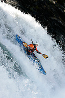 HOLLAND Barbora (Norway).Kayak downhill race in the Brandseth river. The Extremesport Week, Ekstremsportveko, is the worlds largest gathering of adrenalin junkies. In the small town of Voss enthusiasts in a varitety of extreme sports come togheter every summer to compete and play. Norway.  ©Fredrik Naumann/Felix Features.