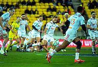 Aaron Cruden kicks ahead during the Super Rugby semifinal match between the Hurricanes and Chiefs at Westpac Stadium, Wellington, New Zealand on Saturday, 30 July 2016. Photo: Dave Lintott / lintottphoto.co.nz