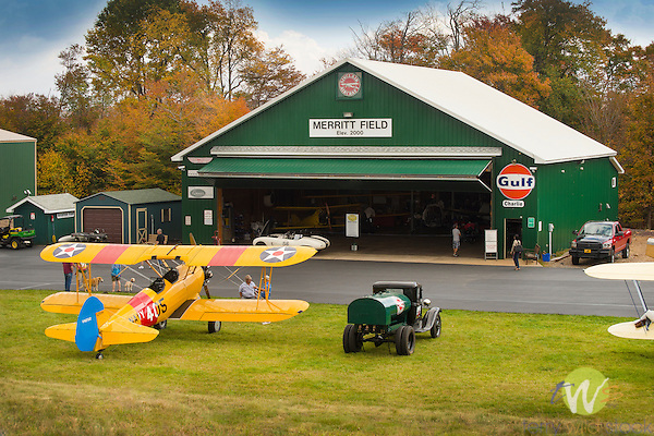 Eagles Mere Air Museum. Merrit Field hangar and biplane.