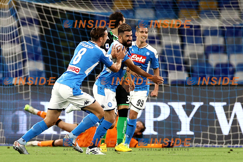 Elseid Hysaj of SSC Napoli celebrates with Fabian Ruiz after scoring the goal of 1-0 during the Serie A football match between SSC Napoli and US Sassuolo at stadio San Paolo in Napoli ( Italy ), July 25th, 2020. Play resumes behind closed doors following the outbreak of the coronavirus disease. <br /> Photo Cesare Purini / Insidefoto