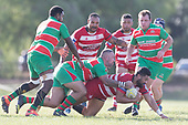 Seluini Molia is taken to ground by Allen Poa. Counties Manukau Premier 1 Club Rugby game between Karaka and Waiuku, played at the Karaka Sports Park on Saturday May 11th 2019. Karaka won the game 33 - 14 after leading 14 - 7 at halftime.<br /> Photo by Richard Spranger.