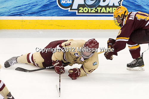 Pat Mullane (BC - 11), Ben Marshall (Minnesota - 10) - The Boston College Eagles defeated the University of Minnesota Golden Gophers 6-1 in their 2012 Frozen Four semi-final on Thursday, April 5, 2012, at the Tampa Bay Times Forum in Tampa, Florida.