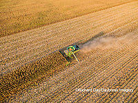 63801-08610 Corn Harvest, John Deere combine harvesting corn - aerial Marion Co. IL