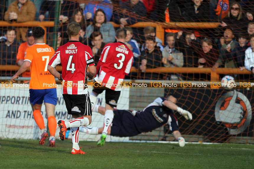 Mitch Brundle of Braintree Town gets the third goal of the game during Braintree Town vs Altrincham, Vanarama National League Football at the Avanti Stadium on 30th April 2016