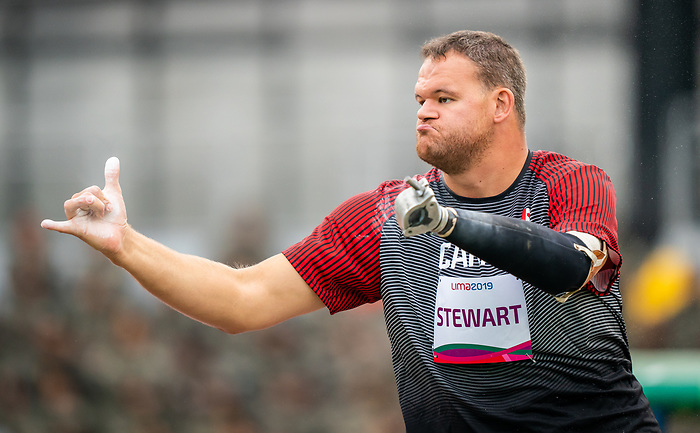Lima, Peru -  25/August/2019 -  Gregory Stewart competes in men's shot put F46 at the Parapan Am Games in Lima, Peru. Photo: Dave Holland/Canadian Paralympic Committee.