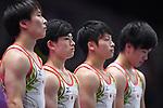 (L-R)  Fuya Maeno,  Kakeru Tanigawa, Ä Shogo Nonomura,  Kenta Chiba (JPN), <br /> AUGUST 20, 2018 - Artistic Gymnastics : Men's Individual All-Around Vault at JIEX Kemayoran Hall D during the 2018 Jakarta Palembang Asian Games in Jakarta, Indonesia. <br /> (Photo by MATSUO.K/AFLO SPORT)