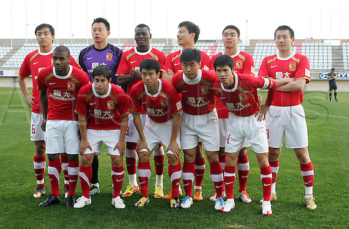 27.01.2012 Cadiz, SPAIN - Friendly football match  played between Cadiz C.F. versus Guangzhou. Guangzhou team picture
