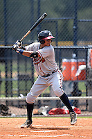 GCL Braves catcher Alejandro Flores (50) at bat during the second game of a doubleheader against the GCL Yankees 1 on July 1, 2014 at the Yankees Minor League Complex in Tampa, Florida.  GCL Braves defeated the GCL Yankees 1 by a score of 3-1.  (Mike Janes/Four Seam Images)