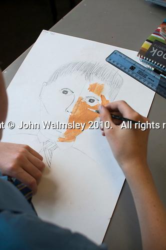 Painting a self-portrait, Art class, state secondary Roman Catholic school.