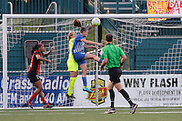 Rochester, NY - Friday May 27, 2016: Boston Breakers defender Julie King (8) and Western New York Flash goalkeeper Britt Eckerstrom (28) battle for the ball. The Western New York Flash defeated the Boston Breakers 4-0 during a regular season National Women's Soccer League (NWSL) match at Rochester Rhinos Stadium.