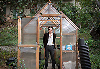 Director of FEAST (Food, Energy and Sustainability Team) Diego Zapata '19 in the UEPI (Urban & Environmental Policy Institute) garden at Occidental College, November 2, 2017.<br /> FEAST is an Oxy student club dedicated to enjoying, studying, and discussing the connection between our food and the environment.<br /> (Photo by Jasmine Terán, Occidental College Social Media and Email Marketing Manager)