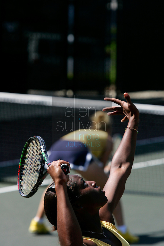 Georgia Tech's Whitney McCray serves in her doubles match with Kristi Miller against Notre Dame during the NCAA Division 1 Tennis Championships quarterfinals in Athens, Ga. on Sunday, May 20, 2007.