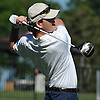 Mickey Brennan of St. Dominic tees off on the 1st Hole of Bethpage State Park's Black Course during the New York State Federation Golf Tournament on Sunday, June 7, 2015. He shot an 8-over 79 to post the lowest score of the four Long Islanders in the 24 person competition.<br /> <br /> James Escher