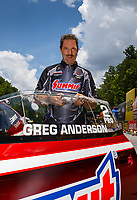Jun 17, 2017; Bristol, TN, USA; NHRA pro stock driver Greg Anderson during qualifying for the Thunder Valley Nationals at Bristol Dragway. Mandatory Credit: Mark J. Rebilas-USA TODAY Sports