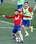 Spain's Nacho Fernandez (l) and Nacho Monreal during training session. March 20,2017.(ALTERPHOTOS/Acero)