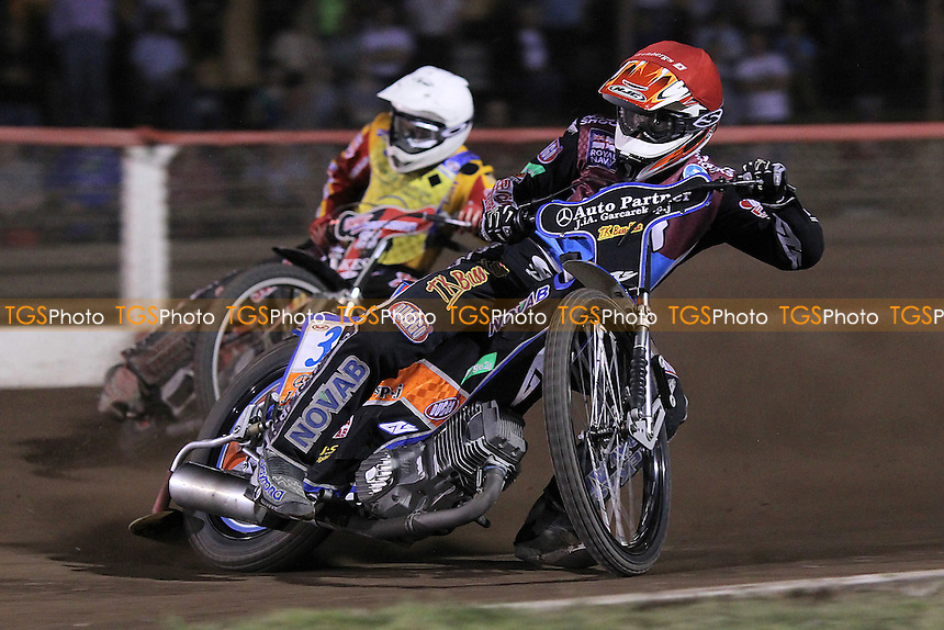 Heat 9: Peter Karlsson (red) ahead of Ben Barker - Lakeside Hammers vs Eastbourne Eagles - Sky Sports Elite League Speedway at Arena Essex Raceway, Purfleet - 17/08/12 - MANDATORY CREDIT: Gavin Ellis/TGSPHOTO - Self billing applies where appropriate - 0845 094 6026 - contact@tgsphoto.co.uk - NO UNPAID USE.