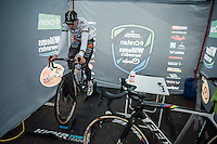 Wout Van Aert (BEL/Crelan-Willems) warming up on the rollers pre-race<br /> <br /> Elite Men's race<br /> CX Superprestige Noordzeecross <br /> Middelkerke / Belgium 2017