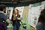 Emily Trzeciak explains her research at Ohio University's Student Research and Creative Activity Expo. Photo by Ben Siegel