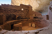 Kiva, a round sunken ceremonial room, at Long House, 13th century, a Native American Puebloan settlement of 150 rooms, kiva, tower, and central plaza, housing 150 people, on the Wetherill Mesa, in Mesa Verde National Park, Montezuma County, Colorado, USA. Long House was built c. 1200 and occupied for 80 years, and is made from sandstone blocks, mortar and wooden beams. Mesa Verde is the largest archaeological site in America, with Native Americans inhabiting the area from 7500 BC to 13th century AD. It is listed as a UNESCO World Heritage Site. Picture by Manuel Cohen