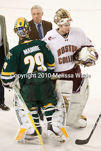 Rob Madore (Vermont - 29), Jerry York (BC - Head Coach), John Muse (BC - 1) - The Boston College Eagles defeated the visiting University of Vermont Catamounts 6-0 on Sunday, November 28, 2010, at Conte Forum in Chestnut Hill, Massachusetts.