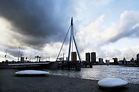 Nederland Rotterdam  2017. De Maas en de Erasmusbrug in Rotterdam. De brug is ontworpen door Ben van Berkel. Foto Berlinda van Dam / Hollandse Hoogte