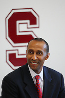 STANFORD, CA - APRIL 28:  Stanford Cardinal men's basketball head coach Johnny Dawkins is introduced during a press conference on April 28, 2008 at Kissick Auditorium in Stanford, California.