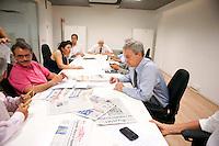 Roma, 7 Luglio 2011..Claudio Sardo, direttore del quotidiano  L'Unità. La prima riunione di redazione.Claudio Sardo, director of the newspaper L'Unità .