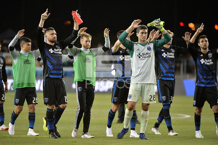 San Jose, CA - Wednesday June 13, 2018: Jimmy Ockford, Andrew Tarbell, Chris Wondolowski during a Major League Soccer (MLS) match between the San Jose Earthquakes and the New England Revolution at Avaya Stadium.
