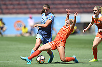 Houston, TX - Saturday May 13, 2017: Houston Dash defender Camille Levin (22), Sky Blue FC defender Erica Skroski (8) during a regular season National Women's Soccer League (NWSL) match between the Houston Dash and Sky Blue FC at BBVA Compass Stadium. Sky Blue won the game 3-1.