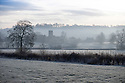 24/11/14<br /> <br /> Nestling by the river Dove, on the Derbyshire, Staffordshire border, St John the Baptist Church, Mayfield, emerges through the mist after temperatures plummet below freezing over-night.<br /> <br /> <br /> ***ANY UK EDITORIAL PRINT USE WILL ATTRACT A MINIMUM FEE OF £130. THIS IS STRICTLY A MINIMUM. USUAL SPACE-RATES WILL APPLY TO IMAGES THAT WOULD NORMALLY ATTRACT A HIGHER FEE .  PRICE FOR WEB USE WILL BE NEGOTIATED SEPARATELY***<br /> <br /> <br /> All Rights Reserved - F Stop Press.  www.fstoppress.com. Tel: +44 (0)1335 300098