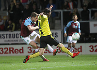 Burnley's Chris Wood gets a shot on goal<br /> <br /> Photographer Mick Walker/CameraSport<br /> <br /> The Carabao Cup Round Three   - Burton Albion  v Burnley - Tuesday  25 September 2018 - Pirelli Stadium - Buron On Trent<br /> <br /> World Copyright © 2018 CameraSport. All rights reserved. 43 Linden Ave. Countesthorpe. Leicester. England. LE8 5PG - Tel: +44 (0) 116 277 4147 - admin@camerasport.com - www.camerasport.com