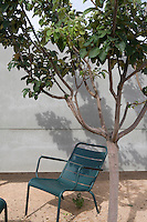 A green chair beneath a tree outside the Hotel Aire de Bardenas