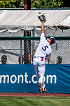 3 September 2018: Vermont Lake Monsters outfielder Nick Osborne gets the first out in the first inning against the Tri-City ValleyCats at Centennial Field in Burlington, Vermont. The Lake Monsters defeated the ValleyCats 9-6 in the last game of the 2018 NY Penn League regular season. Mandatory Credit: Ed Wolfstein Photo *** RAW (NEF) Image File Available ***