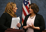 Nevada Assembly Speaker Marilyn Kirkpatrick, D-North Las Vegas, and Assemblywoman Teresa Benitez-Thompson, D-Reno, work in committee at the Legislative Building in Carson City, Nev., on Wednesday, May 15, 2013. .Photo by Cathleen Allison