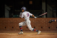 Jacksonville Jumbo Shrimp Magneuris Sierra (18) at bat during a Southern League game against the Mobile BayBears on May 7, 2019 at Hank Aaron Stadium in Mobile, Alabama.  Mobile defeated Jacksonville 2-0.  (Mike Janes/Four Seam Images)